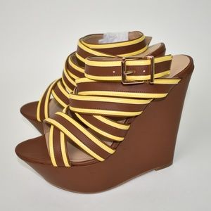 Justfab crossover wedge sandals